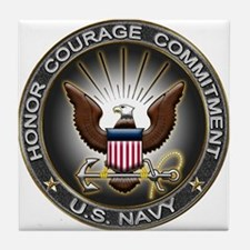 USN Eagle Honor Courage Commi Tile Coaster