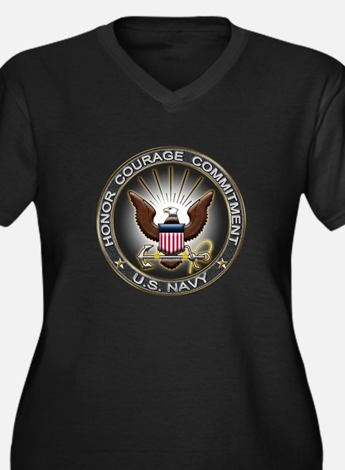 USN Eagle Honor Courage Commi Women's Plus Size V-