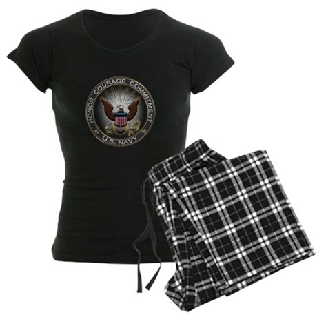 USN Eagle Honor Courage Commi Women's Dark Pajamas