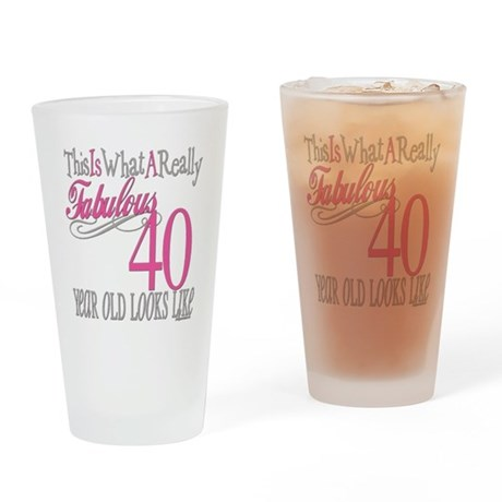 40th Birthday Gifts Drinking Glass