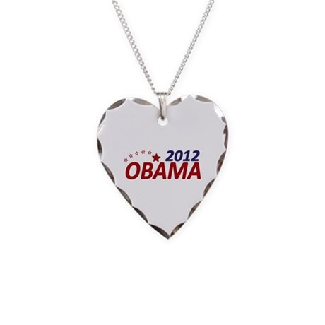 Obama 2012 Necklace Heart Charm
