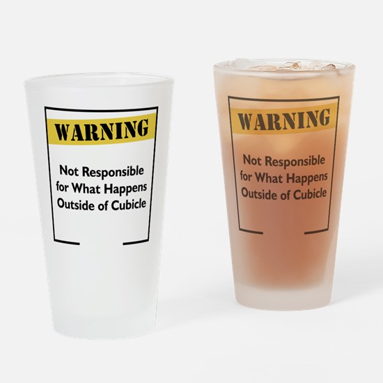 Cubicle Warning Drinking Glass