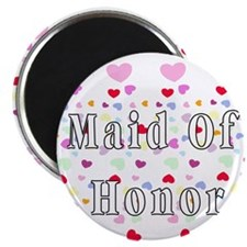 """Maid Of Honor Hearts 2.25"""" Magnet (10 pack)"""