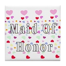 Maid Of Honor Hearts Tile Coaster
