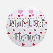 Maid Of Honor Hearts Ornament (Round)