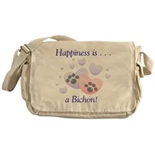 Happiness is...a Bichon Messenger Bag