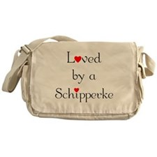 Loved by a Schipperke Messenger Bag