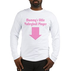 Mom's little Volleyball Player Pink Long Sleeve T-