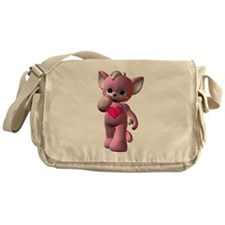 Pink Heart Kitten Messenger Bag