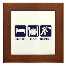Sleep Eat Caving Framed Tile