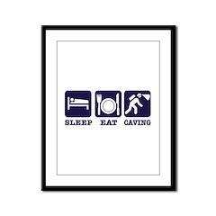 Sleep Eat Caving Framed Panel Print