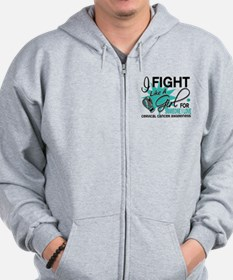 Fight Like A Girl For My Cervical Cancer Zip Hoodie