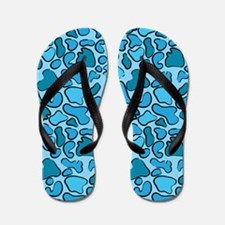Blue Outline Leopard Flip Flops