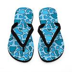 Blue Outline Leopard Flip Flops