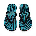Zebra Black Blue Flip Flops