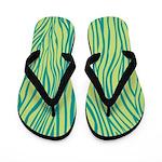 Zebra Blue Green Flip Flops