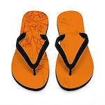 Bushes Bloom Orange Flip Flops