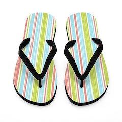 Pink Blue Green Stripes Flip Flops