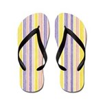 Purple Yellow Pink Striped Flip Flops