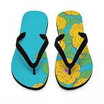Bold Bloom Blue Flip Flops