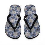 Patterned Palmette Flip Flops