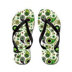 Alien Green Paisley Flip Flops