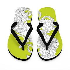 Lime Floral Flip Flops