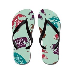 Retro Phone Pattern Flip Flops
