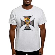 Flaming Skull Ash Grey T-Shirt