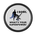 Bowling Superhero Large Wall Clock