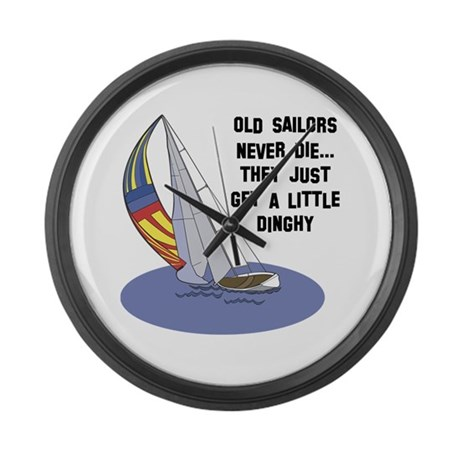 Old Sailors Never Die Large Wall Clock