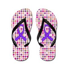 Alzheimer's Purple Ribbon Flip Flops