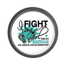 Fight Like A Girl For My Cervical Cancer Wall Cloc