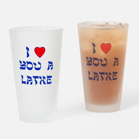 I Love You a Latke Drinking Glass