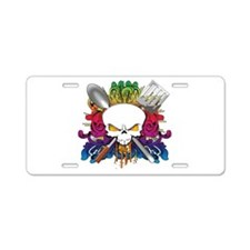 Chef Skull Aluminum License Plate