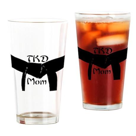 Martial Arts TKD Mom Drinking Glass