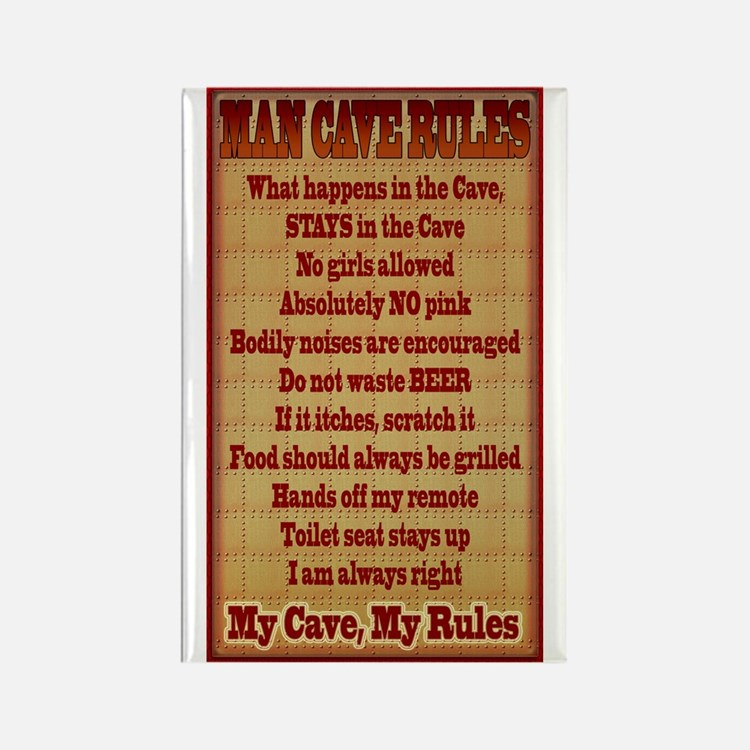 Man Cave Rules Rectangle Magnet