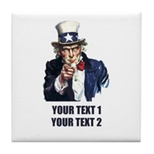 [Your text] Uncle Sam Tile Coaster