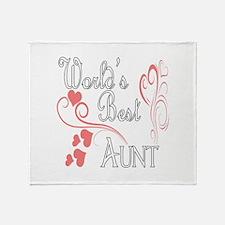 Best Aunt (Pink Hearts) Throw Blanket