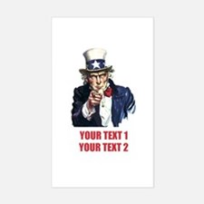 [Your text] Uncle Sam 2 Sticker (Rectangle)