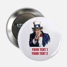 "[Your text] Uncle Sam 2 2.25"" Button"