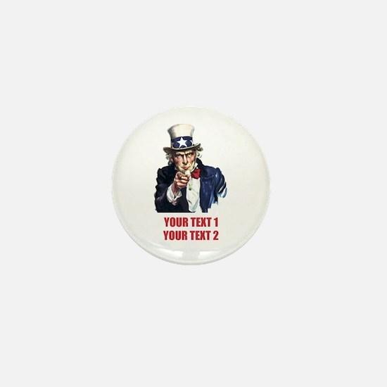 [Your text] Uncle Sam 2 Mini Button