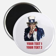 """[Your text] Uncle Sam 2 2.25"""" Magnet (10 pack)"""