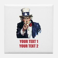 [Your text] Uncle Sam 2 Tile Coaster