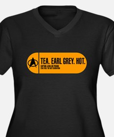 Tea. Earl Grey. Hot. Women's Plus Size V-Neck Dark