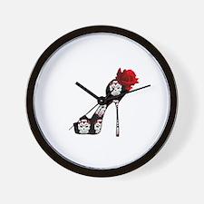 Rose Skull Stiletto Wall Clock
