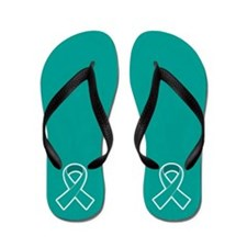 Teal Ribbon Awareness Flip Flops