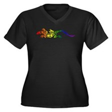Rainbow Pride Lizard Women's Plus Size V-Neck Dark