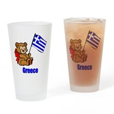 Greece Teddy Bear Drinking Glass