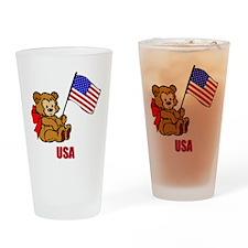 USA Teddy Bear Drinking Glass